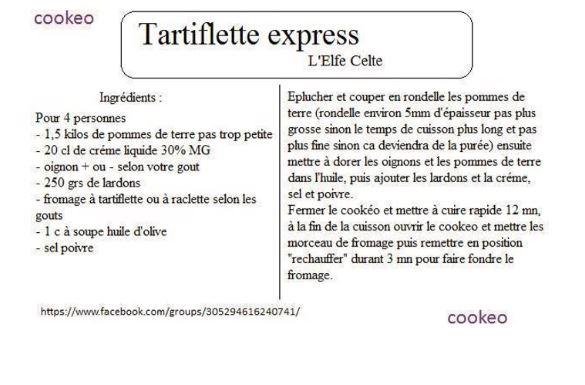 Fiches cookeo tartiflette 2 recettes - Recette de noel au cookeo ...