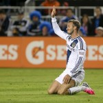 November 07, 2012; Los Angeles Galaxy midfielder David Beckham (23) reacts after the tackle against the San Jose Earthquakes. Credit: Kelley L Cox-US PRESSWIRE