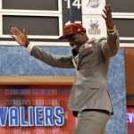 Anthony Bennett (UNLV) reacts after being selected as the number one overall pick to the Cleveland Cavaliers during the 2013 NBA Draft at the Barclays Center. Mandatory Credit: Joe Camporeale-USA TODAY Sports