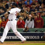 Boston Red Sox designated hitter David Ortiz (34) hits a grand slam during the eighth inning in game two of the American League Championship Series baseball game against the Detroit Tigers at Fenway Park. Mandatory Credit: Greg M. Cooper-USA TODAY Sports