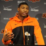 Oklahoma State Cowboys guard Marcus Smart talks to the media at Gallagher-Iba Arena. Mandatory Credit: Mark D. Smith-USA TODAY Sports