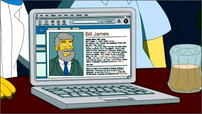 """Bill James en un capítulo de """"Los Simpson"""""""