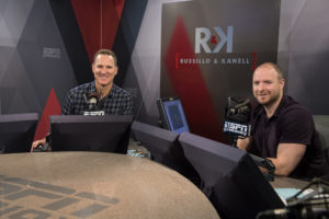 Bristol, CT - May 10, 2016 - Radio Studio: Portrait of Ryen Russillo and Danny Kanell on the set of Russillo and Kanell (Photo by Joe Faraoni / ESPN Images)