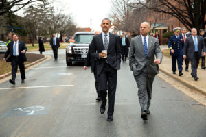 President Barack Obama and Homeland Security Secretary Jeh Johnson, Moorehouse College graduate,  walk between buildings before the President delivers remarks on the FY 2016 budget / Credit: Pete Souza