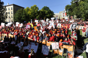 MADISON, WI - OCTOBER 1, 2011: ESPN College GameDay built by The Home Depot fans on the remote on-site set of College GameDay at Camp Randall Stadium prior regular season game between the Nebraska Cornhuskers and the Wisconsin Badgers (Photo by Phil Ellsworth / ESPN) - RAW FILE AVAILABLE -.- CMI000156672.jpg -