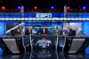 Bristol, CT - June 16, 2016 - Studio W: Charles Woodson (l), Matt Hasselbeck, Chris Berman, Randy Moss and Trent Dilfer on the set of Sunday NFL Countdown (photo by Joe Faraoni/ ESPN Images)
