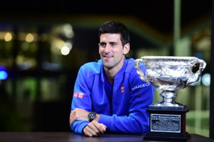 Melbourne, Australia - February 2, 2015 - Melbourne Park: Novak Djokovic on the set during the 2015 Australian Open (Photo by Ben Solomon / ESPN Images)