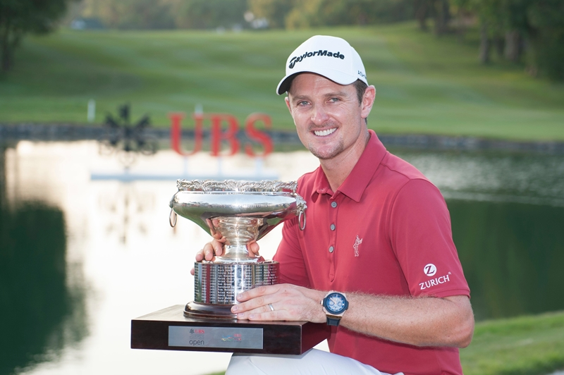 Justin Rose of England shows off his trophy after winning UBS Hong Kong Open golf tournament at the Fanling golf course on 25 October 2015 in Hong Kong, China. Photo by Xaume Olleros / Power Sport Images