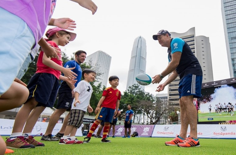 Hong Kong Sevens Fan Zone activities of  Cathay Pacific / HSBC Hong Kong Sevens 2016 at Chater Garden, Central, Hong Kong on 7 April 2016, Hong Kong, China