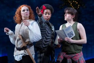 Holly Twyford (Bottom), Monique Robinson (Snout), and Dani Stoller (Flute), A Midsummer Night's Dream, 2016. Photo: Teresa Wood.