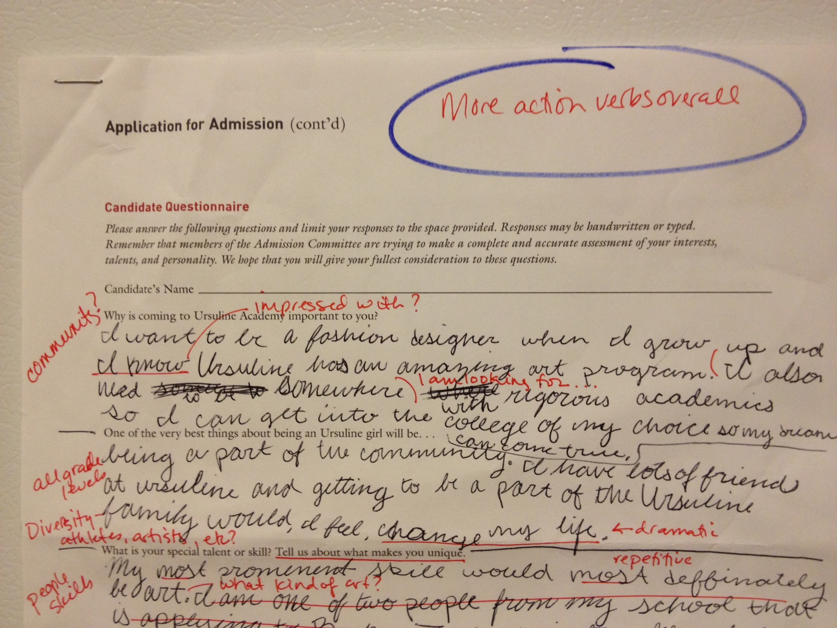 lessons from high school application essays interviews on paper yep those are my red pen marks