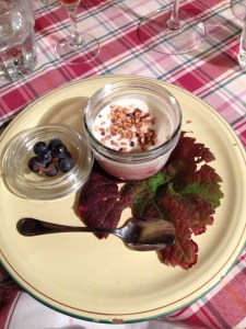 Wine must with yogurt and nuts
