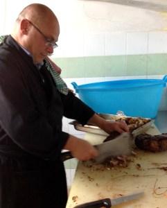 Sergio hacking the lamb