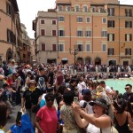 The sea of people at the Trevi Fountain