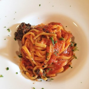 Strangozzie with tomato sauc and truffles