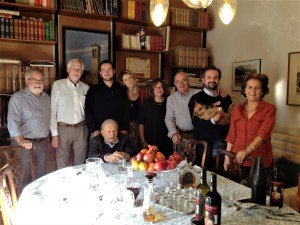Tim, Steve, Ludovica, Julie, Giovanni, Livio (holding Arthur), Paola.  Dr. Pliny is seated.