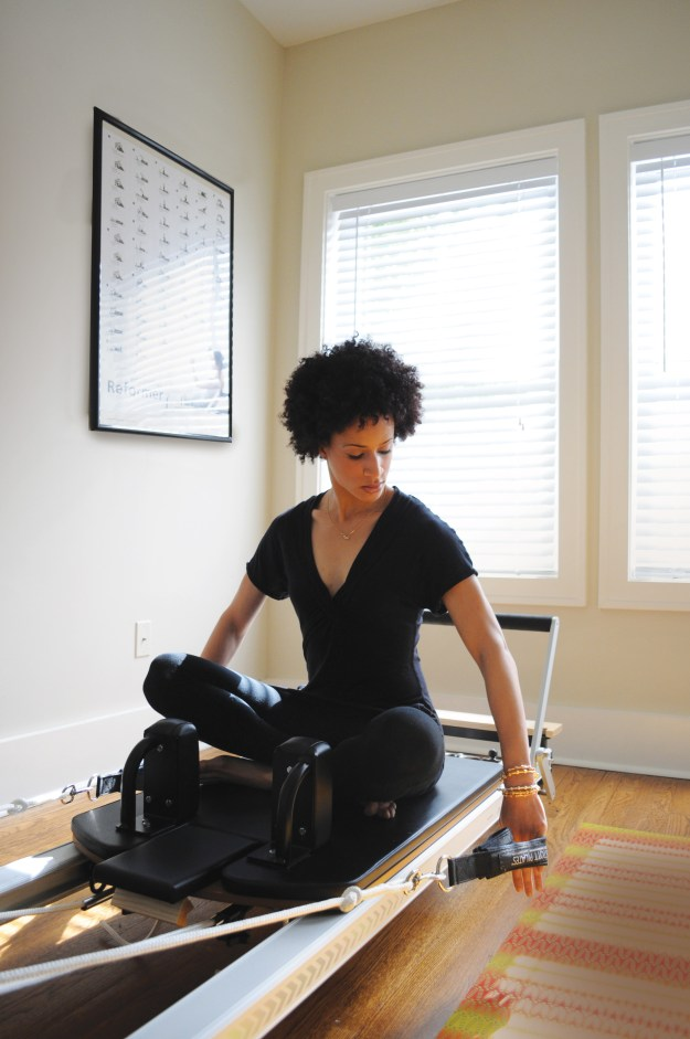 This is my Pilates reformer we used for a jewelry photo shoot. The long box, when not holding my free weights, sits both vertically and horizontally on the reformer bed for some amazing exercises.