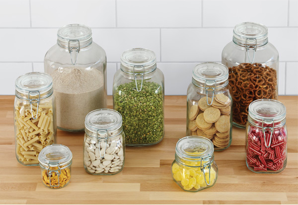 These glass storage jars from the container store have airtight bail & seal closures to keep your dry goods fresh. And they look cool stocked in your pantry.