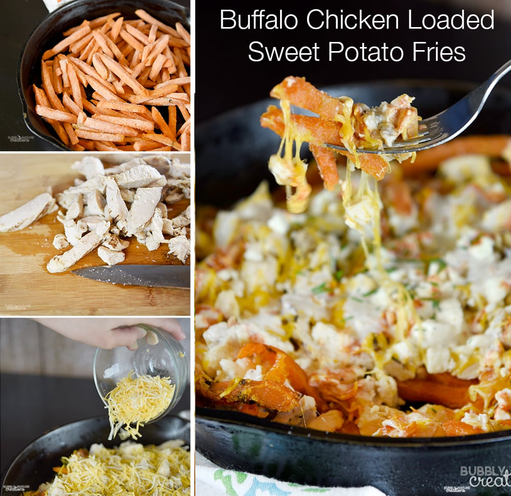 Buffalo Chicken Loaded Sweet Potato Fries! Such a delicious side dish ...
