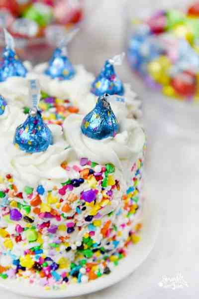 Sprinkle Cake with HERSHEY'S KISSES Birthday Cake Candies