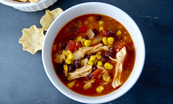 Easy and quick recipe for Chicken Enchilada Crock Pot Soup.