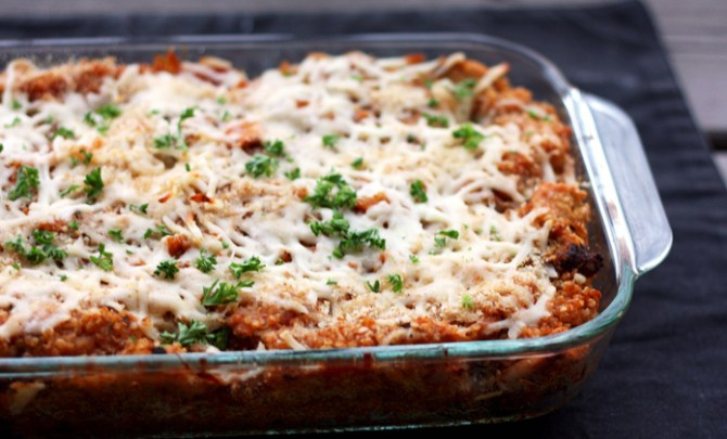 Baked Quinoa and Chicken Parmesan recipe.