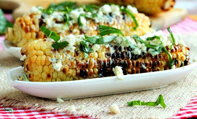 Grilled Corn with Basil and Gorgonzola