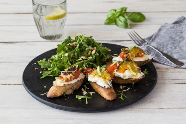 Peach & Tomato Tartines with Almond and Arugula Salad
