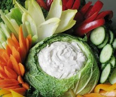 Cabbage Bowl Dip with Raw Vegetables