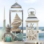 lantern with seashells