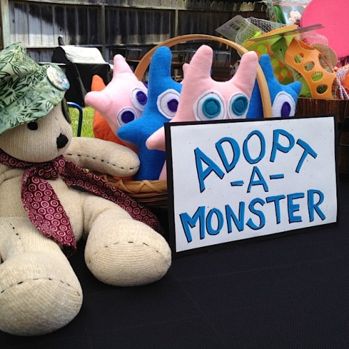 Judy and I made monsters for my niece's first birthday party. Harold was getting to know them here.