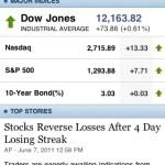 Screenshot of Yahoo! Finance iPhone application