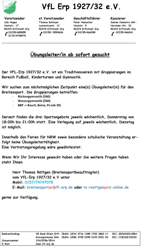 Stellenangebot-Breitensport