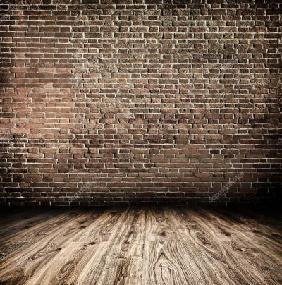 Background of aged grungy textured white brick and stone wall with light wooden floor with ...