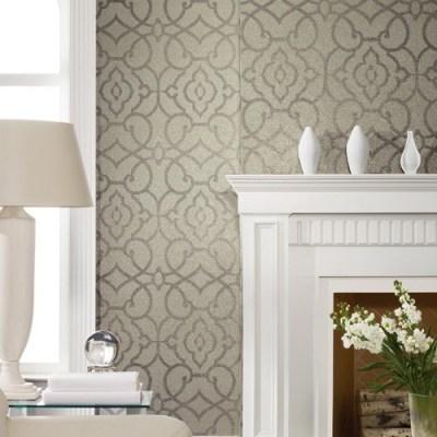 York Wallcoverings   Candice Olson Shimmering Details Grillwork Mica Wallpaper - Modern - Wallpaper
