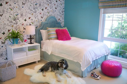 butterfly wallpaper, wallpapered accent wall, wallpaper in kids room