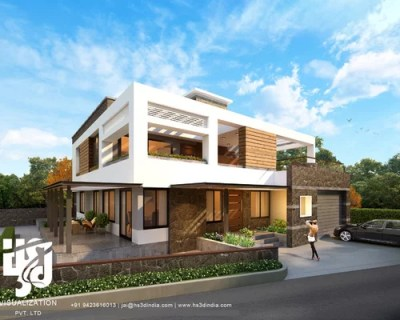 MODERN BUNGALOW EXTERIOR ELEVATION DESIGN DAY RENDERING HS ...