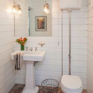 Houzz Inspiration For A Mediterranean Terracotta Floor And Brown Powder  Room Remodel In Orange