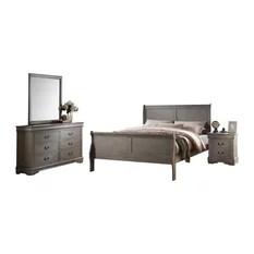 Residence  McComb 4Piece Bedroom Set Gray Queen Furniture Sets Farmhouse Bedroom Furniture Sets91