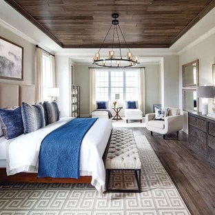 Houzz Inspiration For A Transitional Master Dark Wood Floor Bedroom Remodel In DC  Metro With Beige Walls