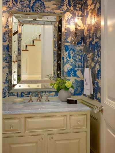 Wainscoting With Wallpaper Above | Houzz