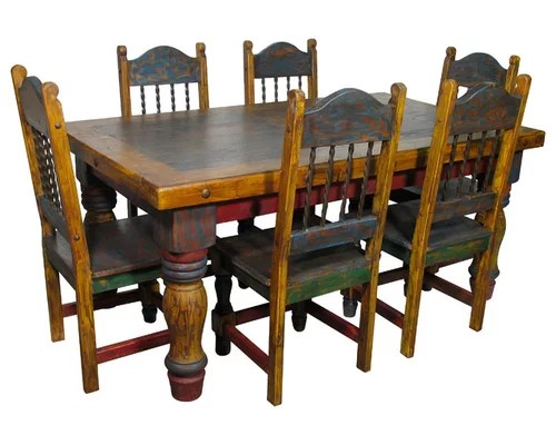 mexican country style painted wood dining set sets image rustic furniture s