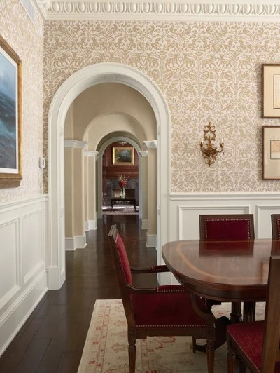 Wainscoting With Wallpaper Above Home Design Ideas, Pictures, Remodel and Decor