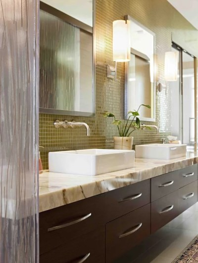 Glass Tile Wall Behind Vanity | Houzz