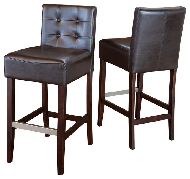 Gregory Brown Leather Back Stools Set Of 2 Bar Height Leather Bar Stools With Back Houzz60