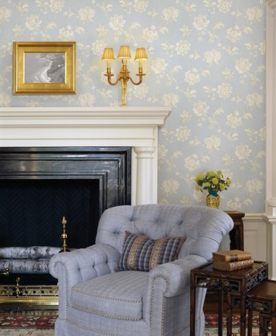 Blue Wallpaper - Traditional - Living Room - other metro - by Brewster Home Fashions