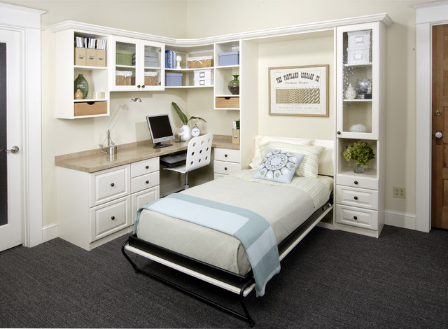 Antique White Office With Twin Wall Bed Transitionalhomeoffice