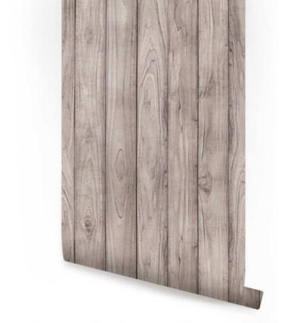 Peel-and-Stick Wood Wallpaper, Gray, 24