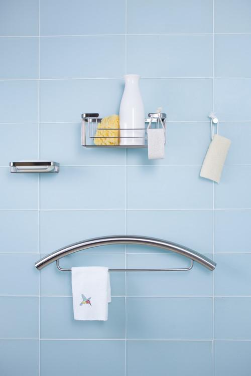 TileWare Traditional Towel Bar Combo Victoria Series Brushed Nickel