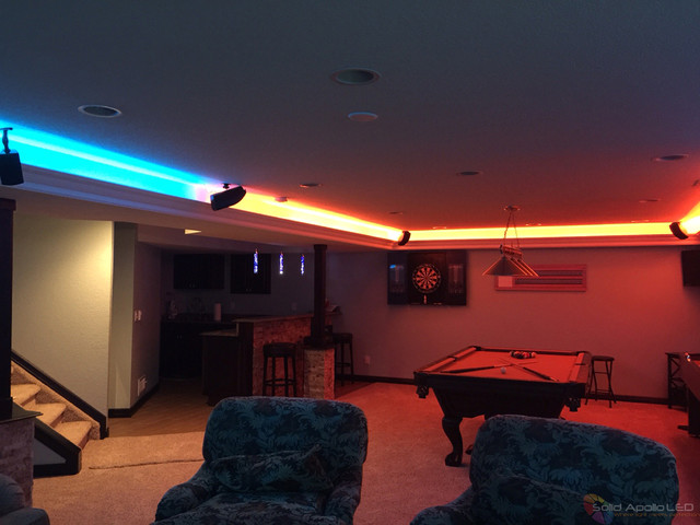 man cave game room led lighting contemporaryfamilyroom gameroom l